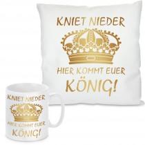 Kissen oder Tasse mit Motiv Modell: Hier kommt euer König