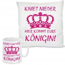 Kissen oder Tasse mit Motiv Modell: Hier kommt eure Königin