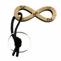 Gravur Schlüsselanhänger aus Holz - Modell: Infinity Ich liebe Dich