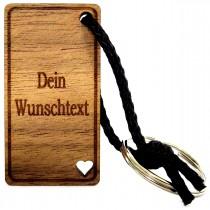 Gravur Schlüsselanhänger aus Holz : Persönliche Wunschtext Gravur