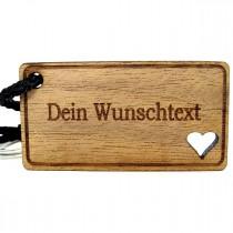 Gravur Schlüsselanhänger aus Holz : Persönliche Wunschtext Gravur (Querformat)