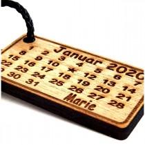 Gravur Schlüsselanhänger aus Holz : Geburtskalender