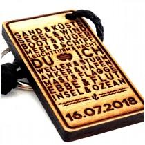 Schlüsselanhänger aus Holz Modell: DU und ICH - Liebe, Urlaub - die Erinnerung ans Meer (personalisiert)
