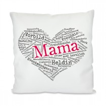 Kissen mit Motiv Modell: Herz aus Worten - Mama