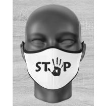 """Mund Nase Maske Kind mit """"STOP-Motiv"""" und Gummizug"""
