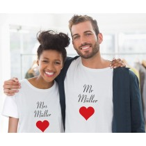 Mr. und Mrs. Partner T-Shirts mit Namen