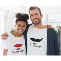 Mr & Mrs T-Shirts mit Namen (Mund + Schnauzer)