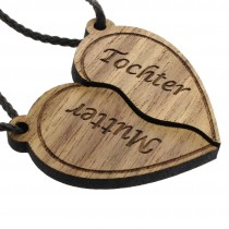 Gravur Partner Set Schlüsselanhänger aus Holz - Modell: Mutter - Tochter