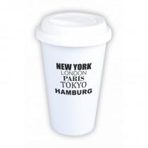 """Coffee-to-Go-Becher mit Motiv """"New York, London, Paris, Tokyo, Hamburg"""""""