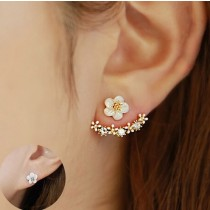 1 Paar ( 2 Stück ) Blumen Silber/Gold Ohrringe