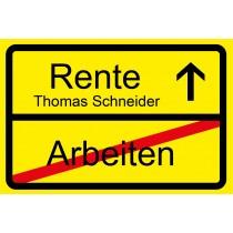 Fußmatte - Modell: Ortsschild Ruhestand/Rente - personalisierbar