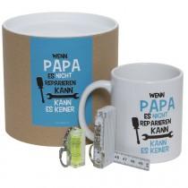 """Geschenkset / Dose """"Wenn Papa es nicht reparieren kann, kann es keiner"""" (Tasse, Mini-Wasserwaage & Zollstock)"""