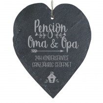 "Schieferherz ""Pension Oma & Opa - 24h Kinderservice ganzjährig geöffnet"""