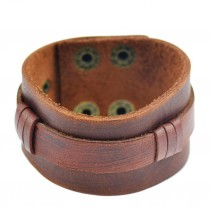 Leder Armband mit Druckknopf  3.8 cm