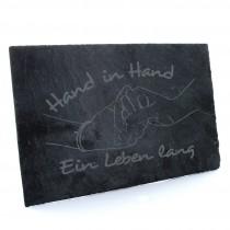 Schieferplatte Natur Modell: Hand in Hand