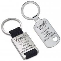 Metall Schlüsselanhänger - Familie ist... wo Leben beginnt und Liebe niemals endet!