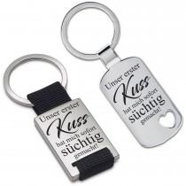 Metall Schlüsselanhänger - Unser erster Kuss hat mich sofort süchtig gemacht!