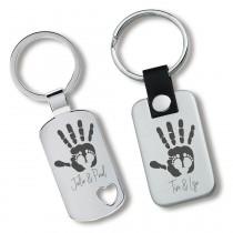 Metall Schlüsselanhänger - Hand und Fuß für Mama und Papa