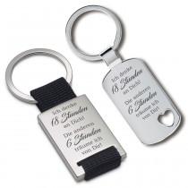 Metall Schlüsselanhänger - Ich denke 18 Stunden an Dich!