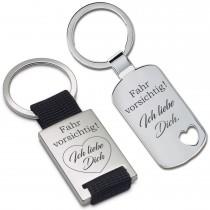 Metall Schlüsselanhänger - Fahr vorsichtig! Ich liebe Dich.
