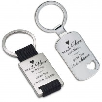 Metall Schlüsselanhänger - Ist mein Herz auch klein, gerne lass ich dich hinein.