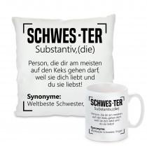 Kissen oder Tasse: SCHWES-TER SCHWESTER ENGEL WELTBESTE
