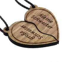 Gravur Partner Set Schlüsselanhänger aus Holz - Modell: Schwestern