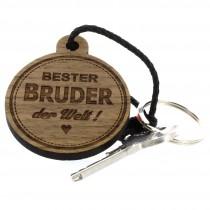 Gravur Schlüsselanhänger aus Holz - bester Bruder