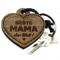 Gravur Schlüsselanhänger aus Holz - beste Mama