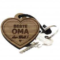 Gravur Schlüsselanhänger aus Holz - beste Oma