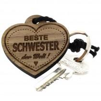 Gravur Schlüsselanhänger aus Holz - beste Schwester