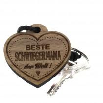 Gravur Schlüsselanhänger aus Holz - beste Schwiegermama