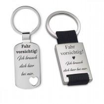 Metall Schlüsselanhänger - Fahr vorsichtig