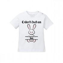 Babyshirt: Osterhäschen (Jungs, personalisierbar)