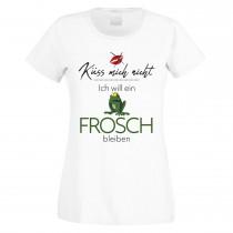 Funshirt weiß oder schwarz, als Tanktop oder Shirt - Küss mich nicht - Ich will ein Frosch bleiben.