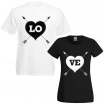 Partnershirts schwarz oder weiß - LOVE