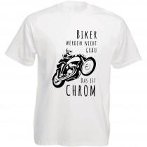 Funshirt weiß oder schwarz - Biker werden nicht grau