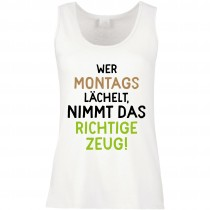 Funshirt weiß oder schwarz - als Tanktop, oder Shirt - Wer montags lächelt ...