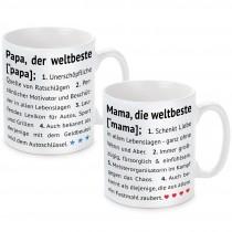 Tasse: Die weltbeste Mama / der weltbeste Papa