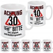 Tasse: Achtung! (30, 40, 50, 60, 70, 80, 90) – Bitte laut, langsam und deutlich sprechen.
