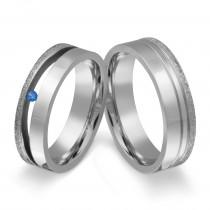 Zwei elegante Freundschaftsringe, Verlobungsringe.Damenring mit blauen Stein