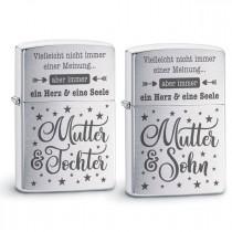 Original Zippo Benzinfeuerzeug: Ein Herz und eine Seele (Mutter - Tochter / Sohn)