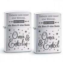 Original Zippo Benzinfeuerzeug: Ein Herz und eine Seele (Oma - Enkelin / Enkel)