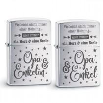 Original Zippo Benzinfeuerzeug: Ein Herz und eine Seele (Opa - Enkelin / Enkel)