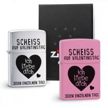 Original Zippo Benzinfeuerzeug:  Scheiss auf Valentinstag - Ich liebe dich jeden einzelnen Tag