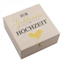 """Hufeisen-Box mit Motiv """"zur goldenen Hochzeit"""" (mit großem goldenen Herz auf der Box)"""