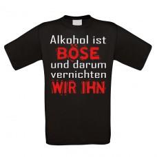 Funshirt weiß oder schwarz - Alkohol ist böse