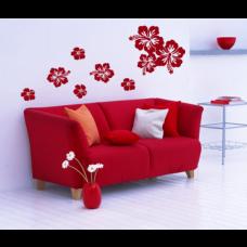 Wandtattoo Set Hibiskusblüten 9-teilig