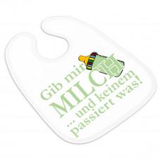 Babylätzchen mit Klettverschluss weiß Modell: Gib mir Milch