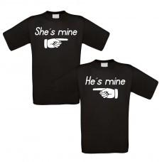 Partnershirt schwarz 2er-Set - She´s mine - He´s mine